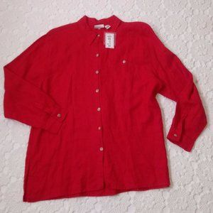New Chicos 16-18 Red Linen Button Up Shirt Casual